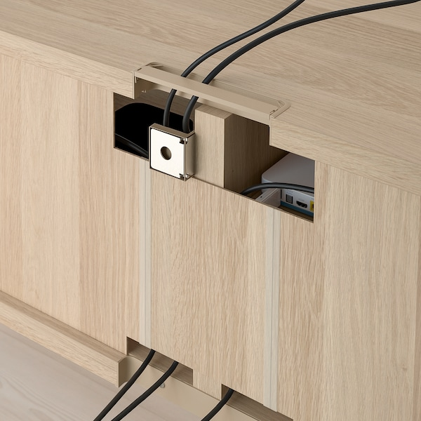 BESTÅ TV storage combination/glass doors, white stained oak effect/Selsviken high-gloss/white clear glass, 240x40x230 cm