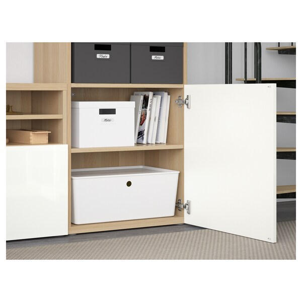 BESTÅ TV storage combination/glass doors, white stained oak effect/Selsviken high-gloss/white frosted glass, 300x40x230 cm