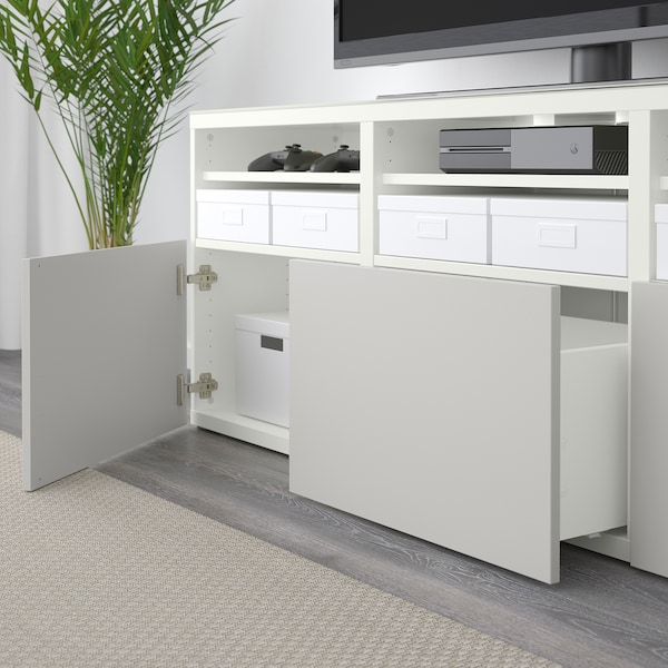 BESTÅ TV storage combination/glass doors white Lappviken/light grey clear glass 180 cm 40 cm 192 cm