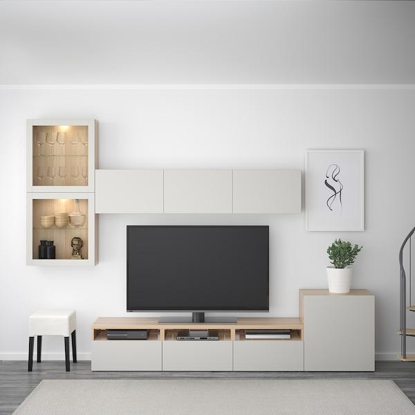 BESTÅ TV storage combination/glass doors white stained oak effect/Lappviken light grey clear glass 300 cm 211 cm 20 cm 40 cm