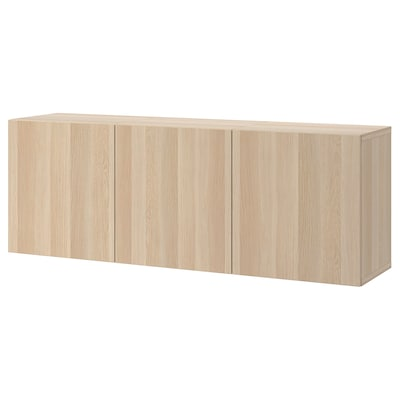 BESTÅ Wall-mounted cabinet combination, white stained oak effect/Lappviken white stained oak effect, 180x42x64 cm