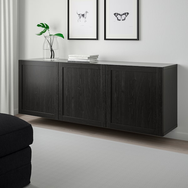 BESTÅ wall-mounted cabinet combination black-brown/Hanviken black-brown 180 cm 42 cm 64 cm