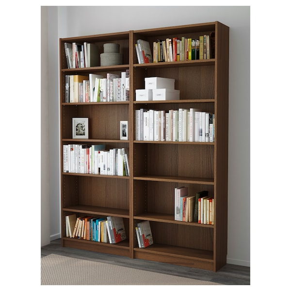 BILLY Bookcase, brown ash veneer, 160x28x202 cm