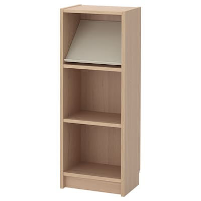 BILLY / BOTTNA Bookcase with display shelf, white stained oak veneer/beige, 40x28x106 cm
