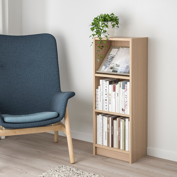 BILLY / BOTTNA bookcase with display shelf white stained oak veneer/beige 40 cm 28 cm 106 cm 14 kg