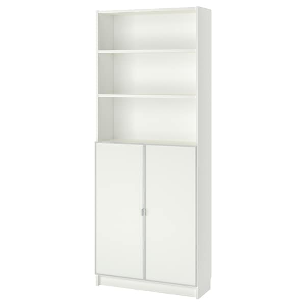 BILLY / MORLIDEN Bookcase with glass-doors, white/glass, 80x30x202 cm