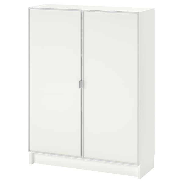 BILLY / MORLIDEN Bookcase with glass-doors, white/glass, 80x30x106 cm
