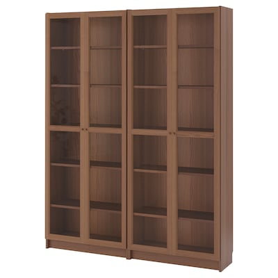 BILLY / OXBERG Bookcase, brown/ash veneer glass, 160x30x202 cm