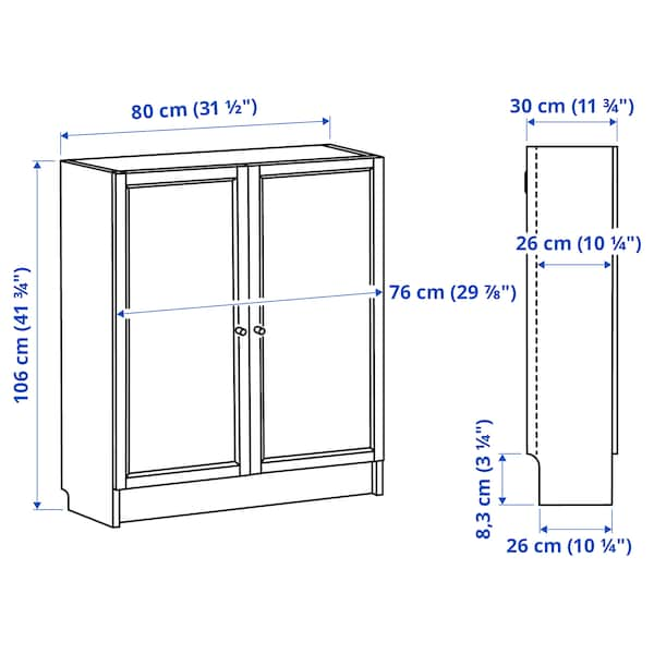 BILLY / OXBERG Bookcase with doors, white stained oak veneer, 80x30x106 cm