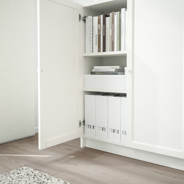 BILLY / OXBERG Bookcase with doors, white, 80x30x106 cm