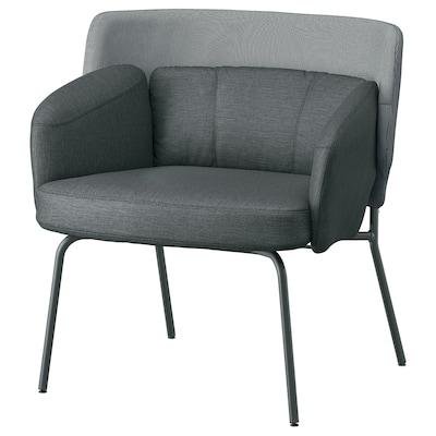 BINGSTA Armchair, Vissle dark grey/Kabusa dark grey