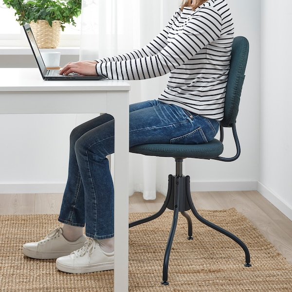 BJÖRKBERGET Swivel chair, Idekulla blue