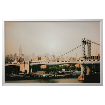 BJÖRKSTA Picture with frame, Manhattan Bridge/aluminium-colour, 118x78 cm