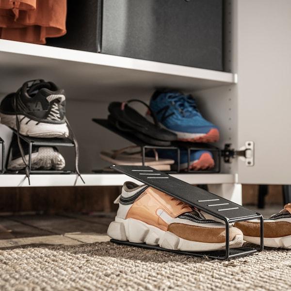 BÖRDIG Shoe organiser, metal black, 11x16x26 cm