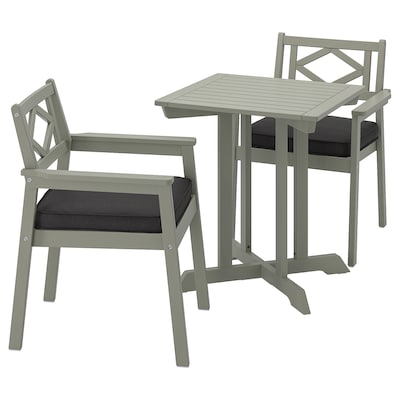 BONDHOLMEN table+2 chairs w armrests, outdoor grey stained/Järpön/Duvholmen anthracite