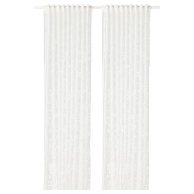 BORGHILD Sheer curtains, 1 pair, white, 145x300 cm