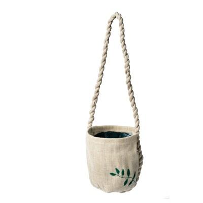 BOTANISK Hanging planter, beige handmade, 9 cm