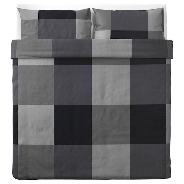 BRUNKRISSLA Duvet cover and 2 pillowcases, black, 240x220/50x80 cm