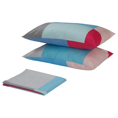 BRUNKRISSLA flat sheet and 2 pillowcase multicolour 152 /inch² 2 pack 50 cm 80 cm 240 cm 260 cm