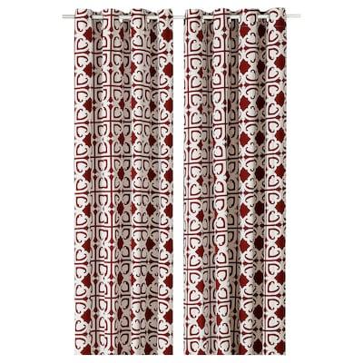 BUKETTSPIREA Curtains, 1 pair, flower/red, 145x300 cm