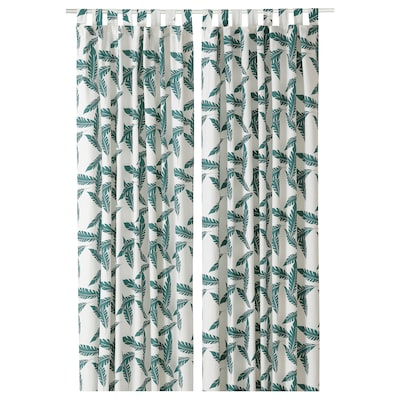 BUSKMÄTARE Curtains, 1 pair, leaf patterned/green, 145x150 cm
