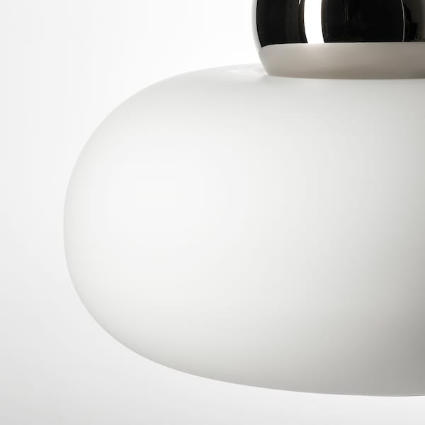 DEJSA Pendant lamp, chrome-plated/opal white glass, 36 cm