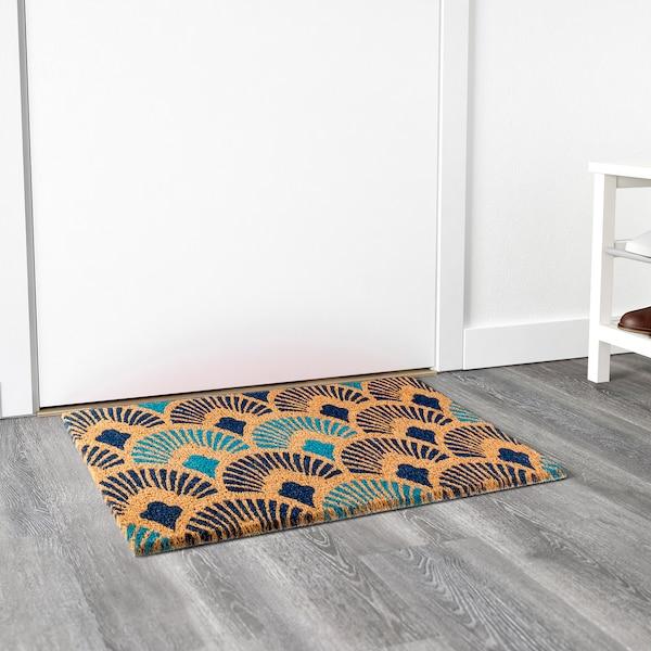 DIANALUND Door mat, natural/blue, 40x70 cm