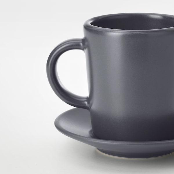 DINERA Espresso cup and saucer, dark grey, 9 cl