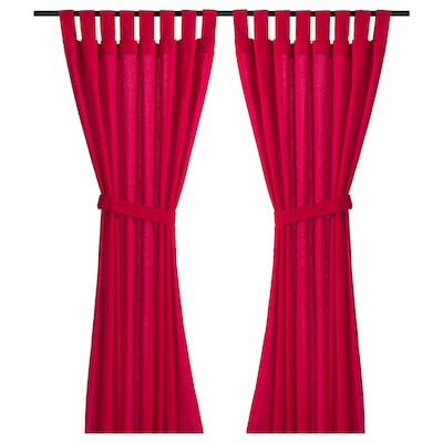 DITTE Curtains with tie-backs, 1 pair, bright red, 145x150 cm