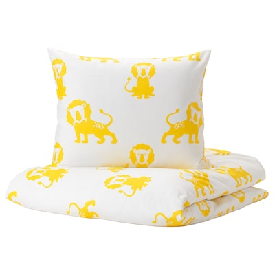 DJUNGELSKOG Quilt cover and pillowcase, lion/yellow, 150x200/50x80 cm