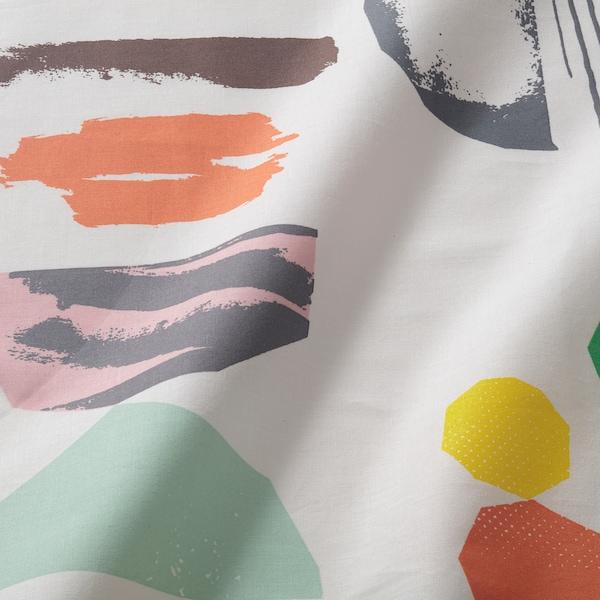 DOFTKLINT Flat sheet and 2 pillowcase, white/multicolour, 240x260/50x80 cm
