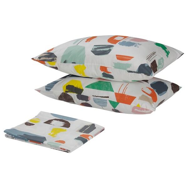 DOFTKLINT flat sheet and 2 pillowcase white/multicolour 152 /inch² 2 pack 50 cm 80 cm 240 cm 260 cm