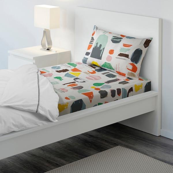 DOFTKLINT Flat sheet and pillowcase, white/multicolour, 150x260/50x80 cm