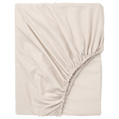DVALA fitted sheet beige 152 /inch² 200 cm 160 cm