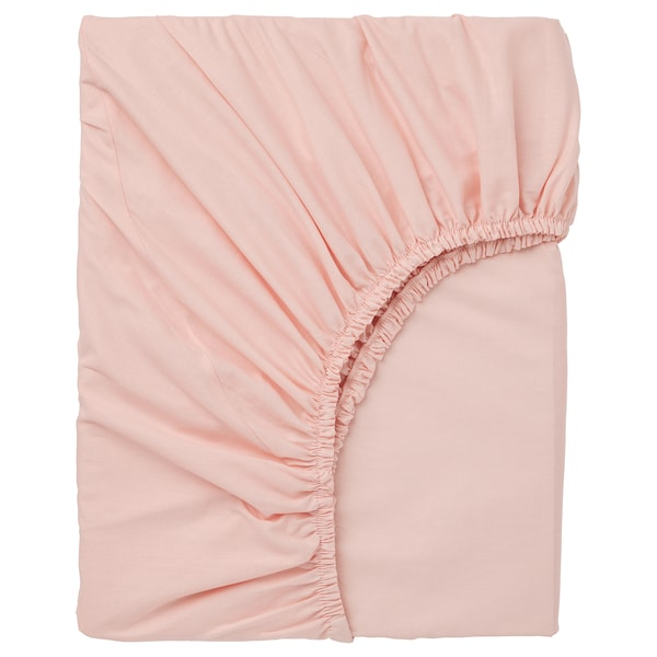 DVALA fitted sheet light pink 152 /inch² 200 cm 180 cm