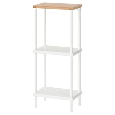 DYNAN Shelf unit, white/bamboo pattern, 40x27x96 cm