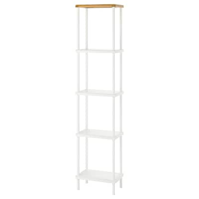 DYNAN Shelf unit, white/bamboo pattern, 40x27x176 cm