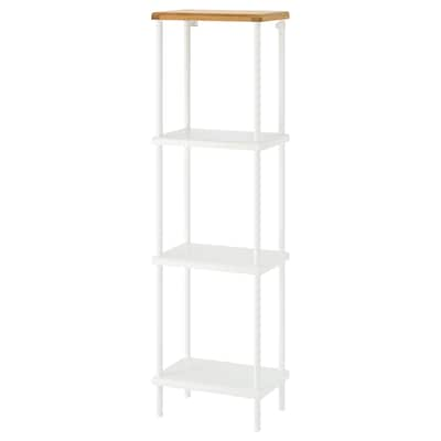 DYNAN Shelf unit, white/bamboo pattern, 40x27x136 cm