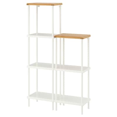 DYNAN Shelf unit, white/bamboo pattern, 80x27x96-136 cm