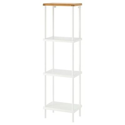 DYNAN shelf unit white/bamboo pattern 40 cm 27 cm 136 cm