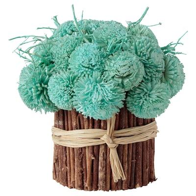 EFTERSINNA Dried bouquet, flower/turquoise, 16 cm