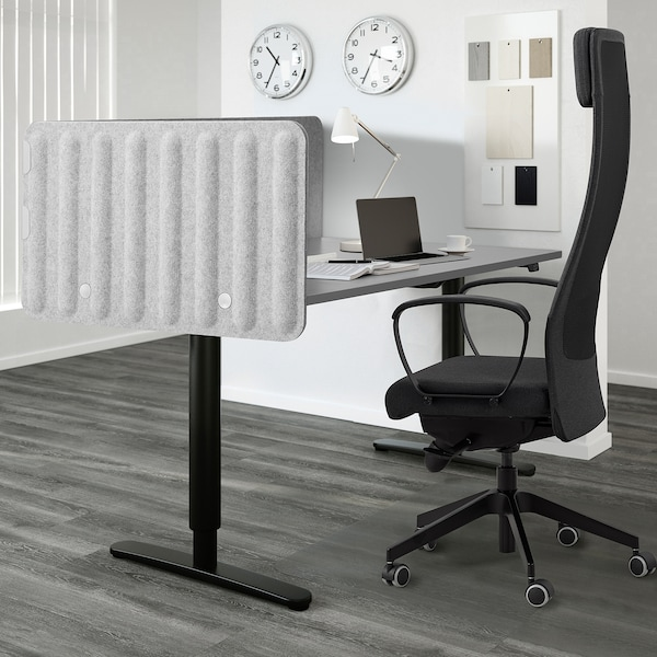 EILIF Screen for desk, grey, 120x48 cm