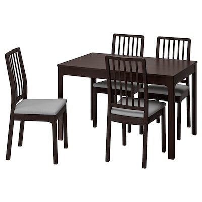 EKEDALEN Table and 4 chairs, dark brown/Orrsta light grey, 120/180 cm