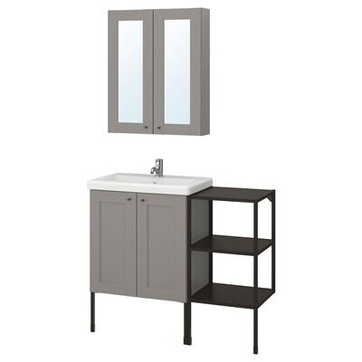 ENHET / TVÄLLEN Bathroom furniture, set of 14, grey frame/anthracite Pilkån tap, 102x43x87 cm