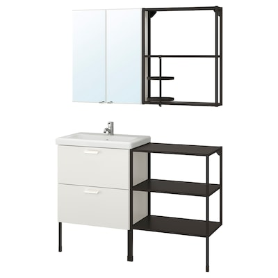 ENHET / TVÄLLEN Bathroom furniture, set of 15, white/anthracite Pilkån tap, 122x43x87 cm