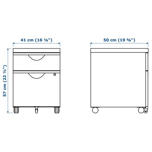 ERIK Drawer unit w 2 drawers on castors, black, 41x57 cm
