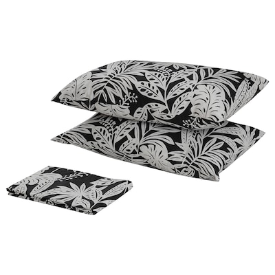 FAGERGINST Flat sheet and 2 pillowcase, grey/white, 240x260/50x80 cm