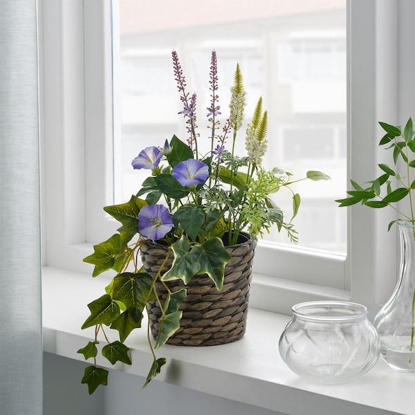 FEJKA Artificial potted plant, in/outdoor/arrangement blue/white, 12 cm