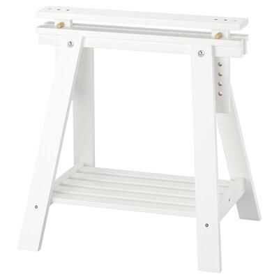 FINNVARD Trestle with shelf, white, 70x71/93 cm