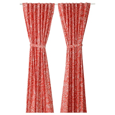 FINSLIPAD Curtains with tie-backs, 1 pair, light pink, 145x150 cm